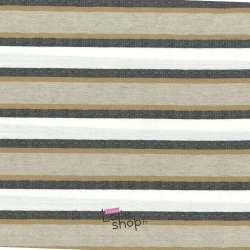 Tissu Lin/ Polyester Rayé Ton Beige Et Noir