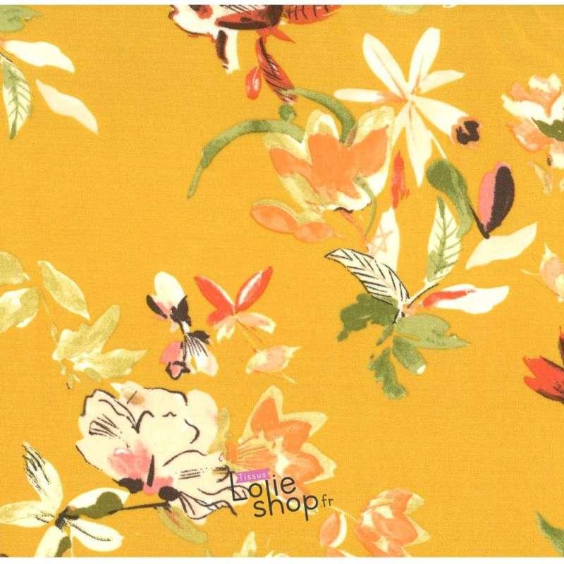 Tissu Lin/ Viscose Fleurs Fond Jaune