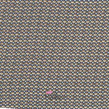 Tissu Viscose Motif Petit Chevron Marron et Bleu
