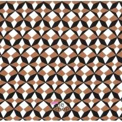 Tissu Viscose Imprimé Motif Graphique Damier Marron