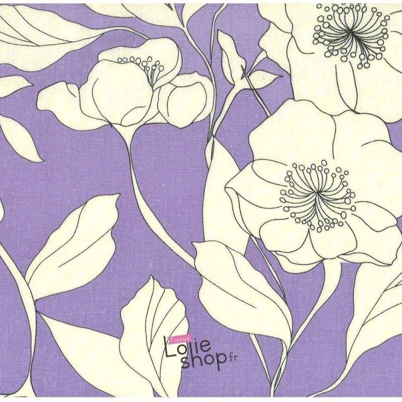 Tissu Lin/ Viscose Grosses Fleurs Fond Lilas