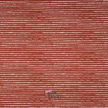 Popeline Coton STRIP Imprimé Lignes Difformes Terracota