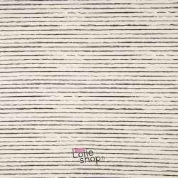 Popeline Coton STRIP Imprimé Lignes Difformes Blanc