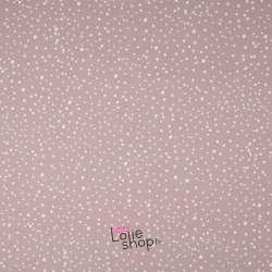 Popeline Coton DOTS Imprimé Pois Blanc Fond Rose Poudre