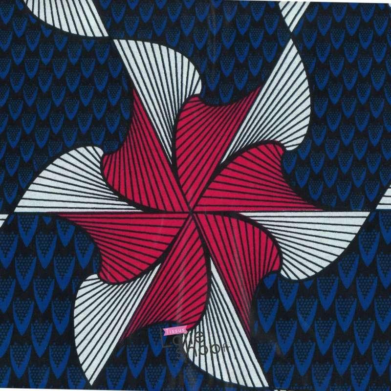 Tissus Wax Africain Imprimé Lomé Ton Bleu et Fushia