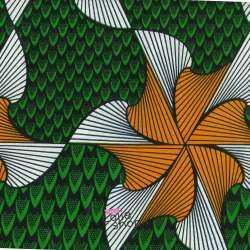 Tissus Wax Africain Imprimé Lomé Ton Vert et Orange