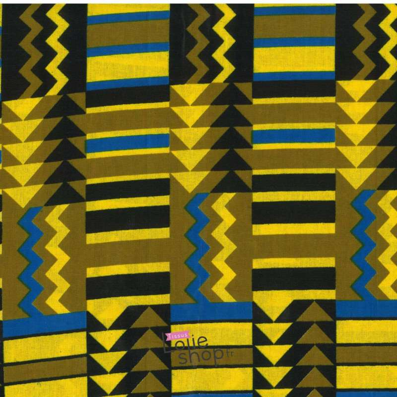 Tissus Wax Africain Imprimé Victoria Ton Jaune Kaki Bleu