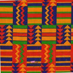 Tissus Wax Africain Imprimé Victoria Ton Orange Bleu Rouge