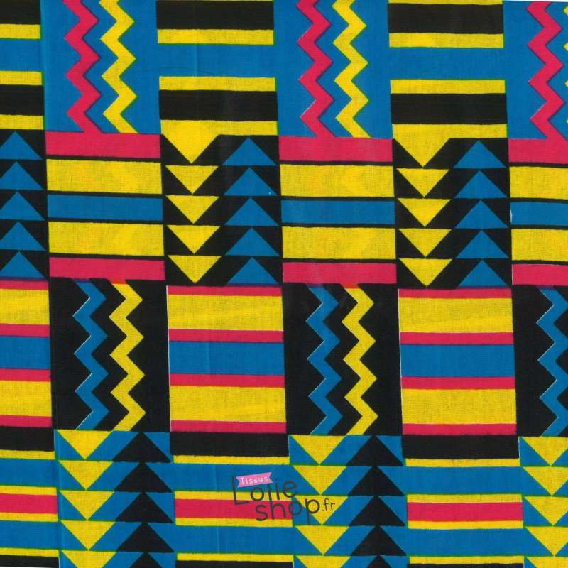 Tissus Wax Africain Imprimé Victoria Ton Jaune Bleu Fushia