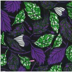 Tissus Wax Africain Imprimé Praia Ton Violet Fond Noir