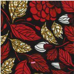 Tissus Wax Africain Imprimé Praia Ton Rouge Fond Noir
