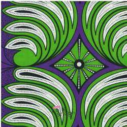 Tissus Wax Africain Imprimé Nairobi Ton Vert et Violet