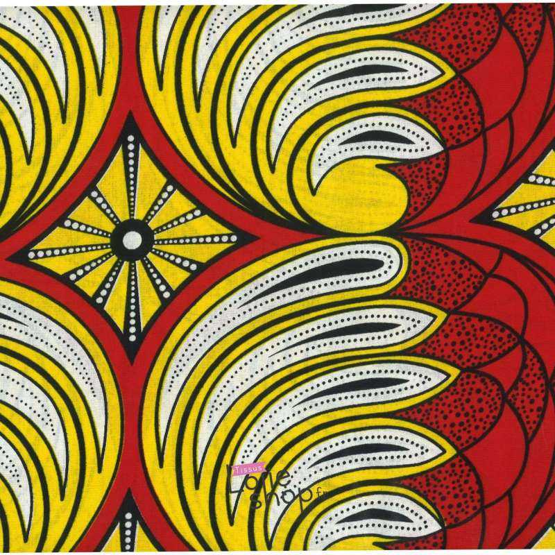 Tissus Wax Africain Imprimé Nairobi Ton Jaune et Rouge