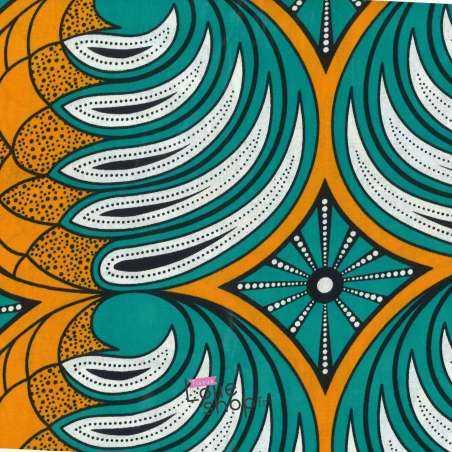 Tissus Wax Africain Imprimé Nairobi Ton Orange et Turquoise
