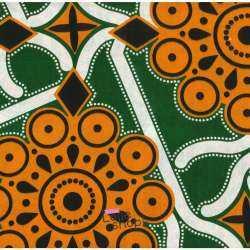 Tissus Wax Africain Imprimé Raba Ton Orange et Vert