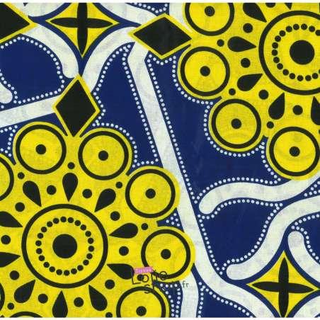 Tissus Wax Africain Imprimé Raba Ton Jaune et Bleu