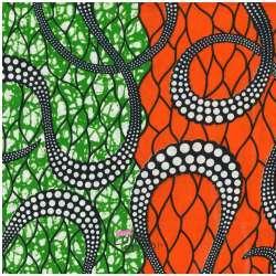 Tissus Wax Africain Imprimé Kala Ton Orange et Vert