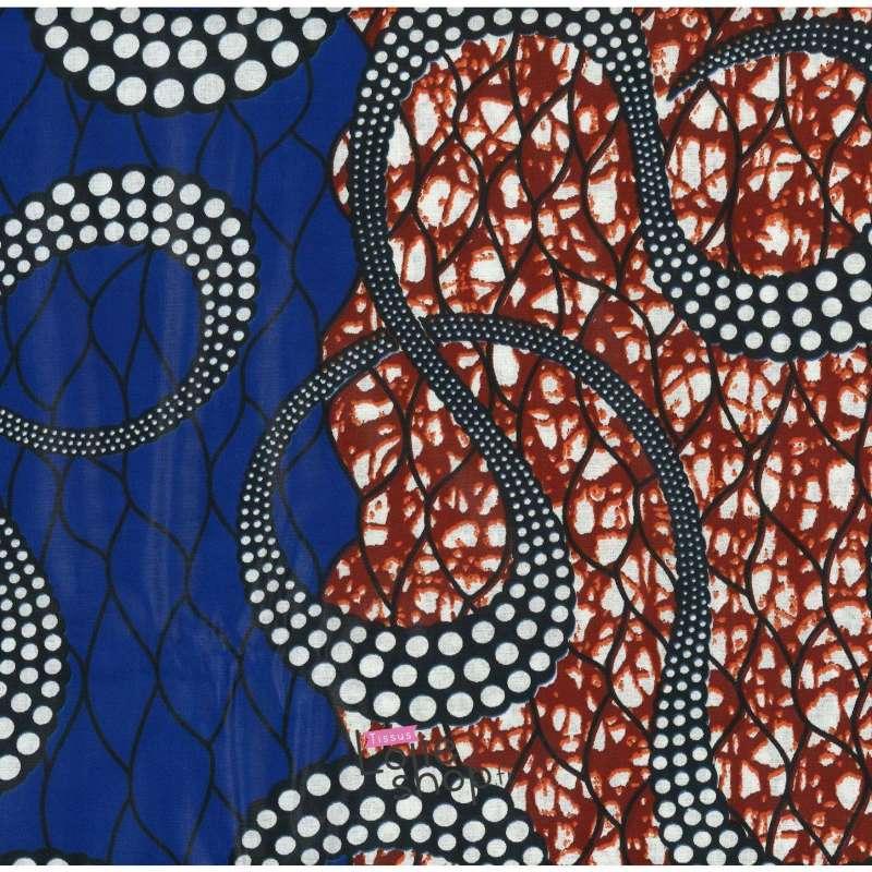 Tissus Wax Africain Imprimé Kala Ton Rouge et Bleu