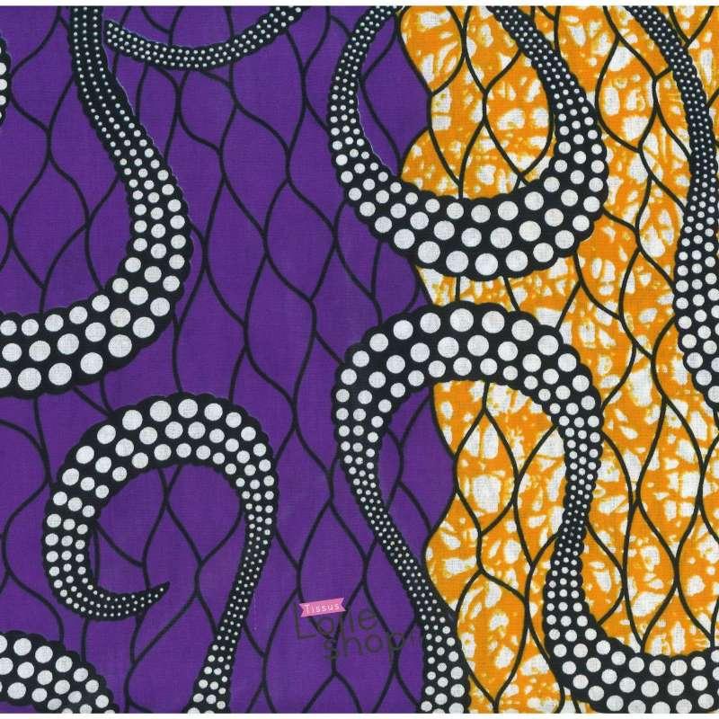 Tissus Wax Africain Imprimé Kala Ton Orange et Violet