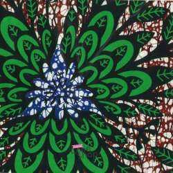 Tissus Wax Africain Imprimé Nala Ton Vert et Marron