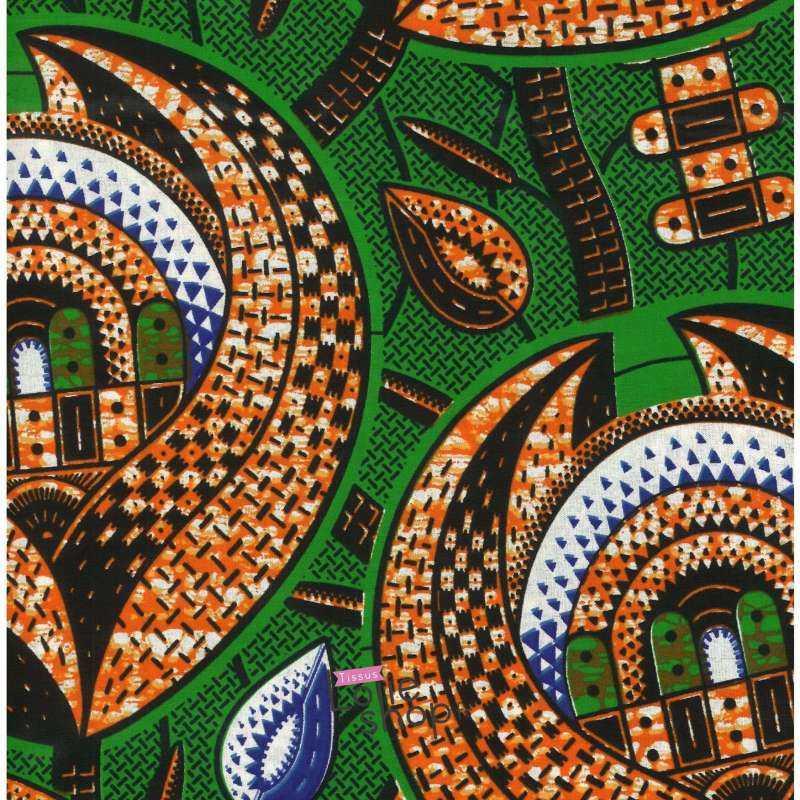 Tissus Wax Africain Imprimé Lalou Ton Orange et Vert