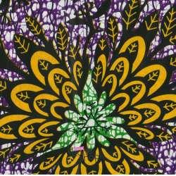 Tissus Wax Africain Imprimé Nala Ton Jaune et Violet