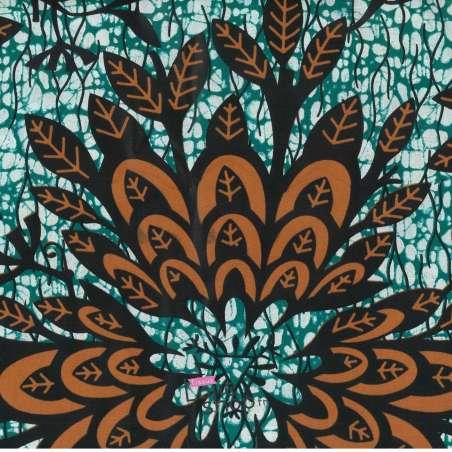 Tissus Wax Africain Imprimé Nala Ton Orange et Vert