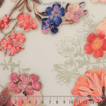 Microfibre Élasthanne Imprimé NAYUKO Motifs Fleurs Fond Blanc Cassé - Photo 15x15 Cm