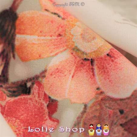 Microfibre Élasthanne Imprimé NAYUKO Motifs Fleurs Fond Blanc Cassé