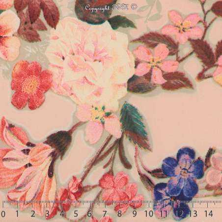 Microfibre Élasthanne Imprimé NAYUKO Motifs Fleurs Fond Chair