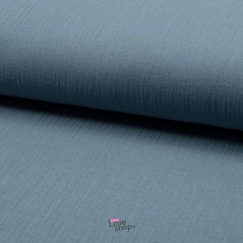 Tissu Double Gaze de Coton Uni Couleur Dusty Bleu