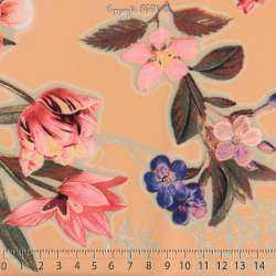 Microfibre Élasthanne Imprimé NAYUKO Motifs Fleurs Fond Saumon
