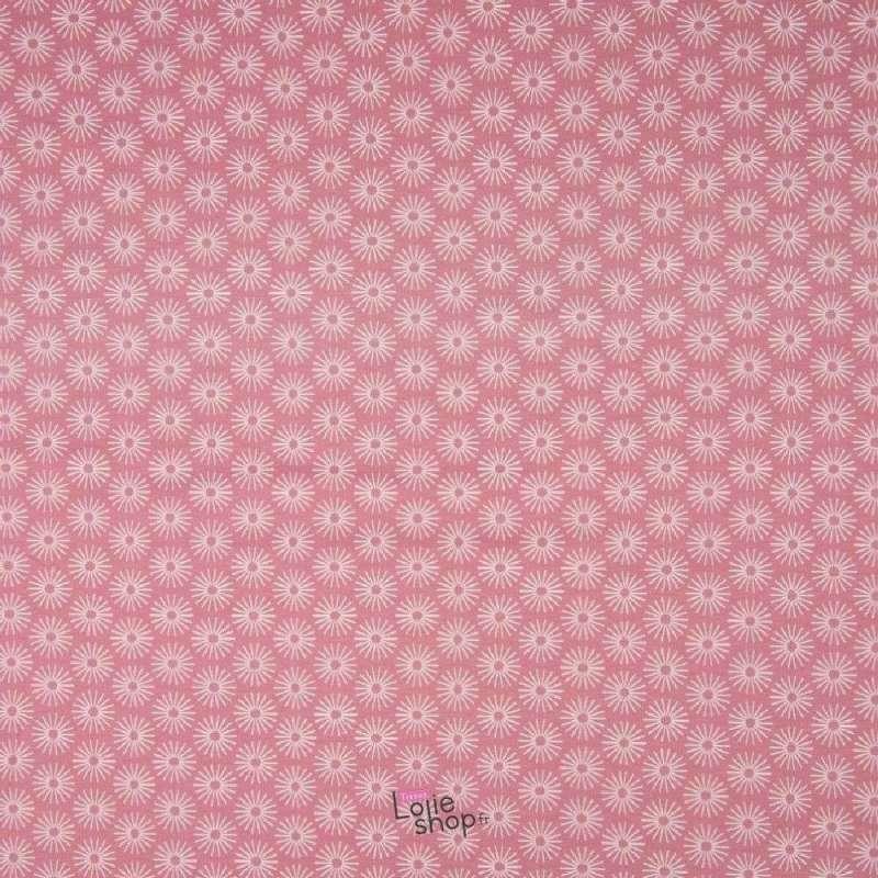Popeline Coton UNBRELLA Imprimé Étoile Géométrique Rose