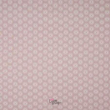 Popeline Coton UNBRELLA Imprimé Étoile Géométrique Rose Poudré