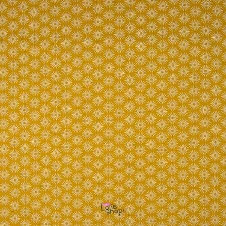 Popeline Coton UNBRELLA Imprimé Étoile Géométrique Ocre