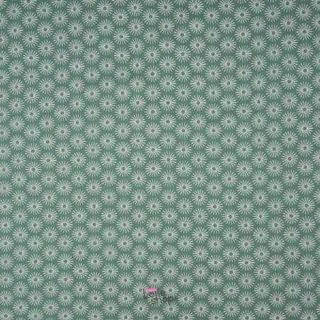 Popeline Coton UNBRELLA Imprimé Étoile Géométrique Vert