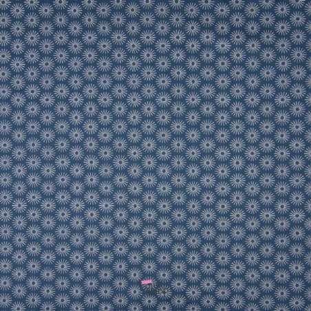 Popeline Coton UNBRELLA Imprimé Étoile Géométrique Bleu Demin