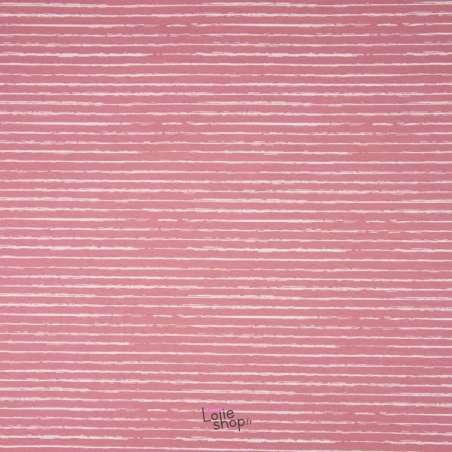 Popeline Coton STRIP Imprimé Lignes Difformes Vieux Rose