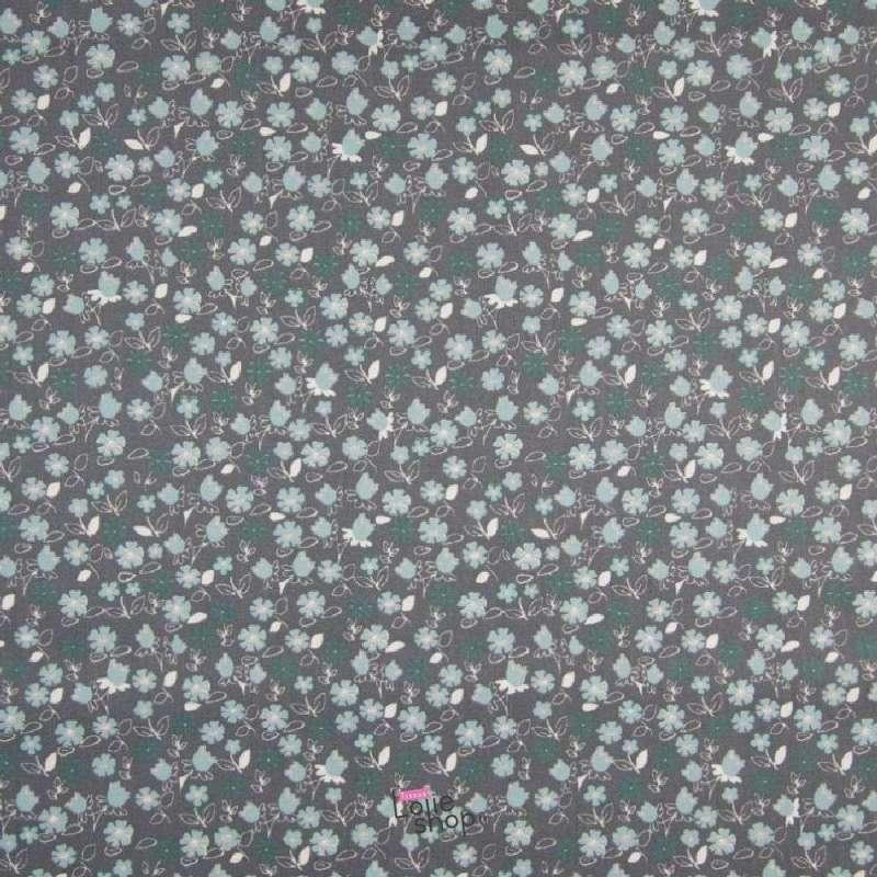 Popeline Coton Imprimé Fleurs De Muguet Thème Gris