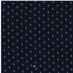 Tissu Viscose Brodé Motif Jaipur Fond Noir