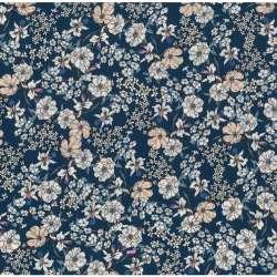 Tissu Viscose Imprimé Motif Fleuris Fond Bleu Colbalt