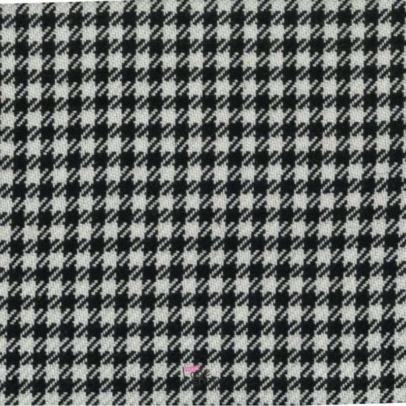 Coupon 3 Mètres Lainage Motif Pied De Poule Noir et Blanc