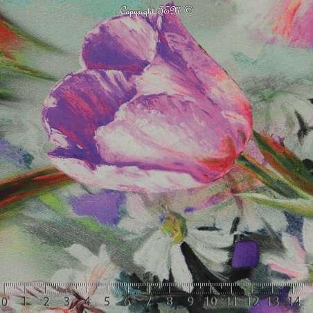 Microfibre Élasthanne Satiné Imprimé Motifs Fleurs Ton Fushia