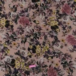 Tissu Crêpe Georgette Motif Fleurs Rose Pale