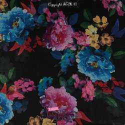 Tissu Crêpe Georgette Motif Fleurs Fond Noir