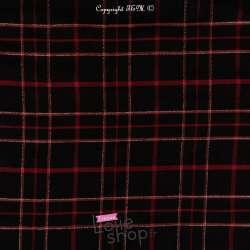 Tissu Viscose Lurex Argent à Carreaux Rouge et Orange Fond Noir
