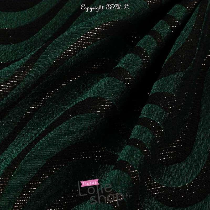 Brocart Texturé Ton Noir et Vert Lurex Dorée