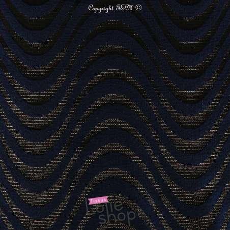 Brocart Texturé Ton Noir et Bleu Lurex Dorée