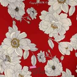 Néoprène SCUBA Crêpe Léger Motif Fleur de Lys Fond Rouge