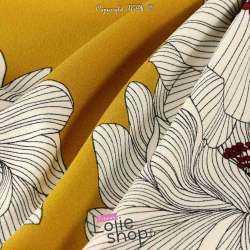 Néoprène SCUBA Crêpe Léger Motif Fleur de Lys Fond Ocre